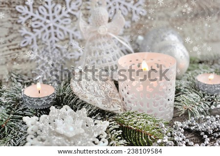 Christmas composition with candles - stock photo