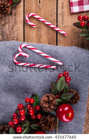 Christmas composition with candy canes