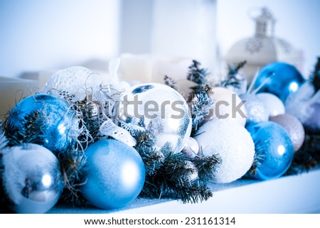 Christmas composition with Christmas balls and Christmas decoration. Blue toned - stock photo
