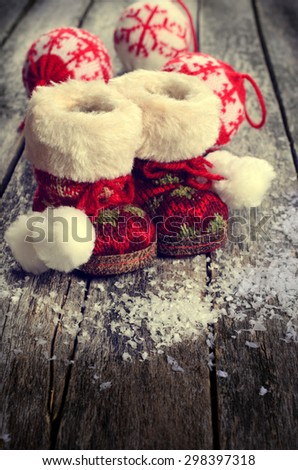 Christmas composition with decorations on wooden background in retro style - stock photo