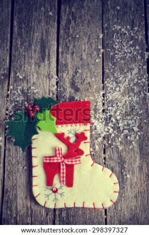 Christmas composition with decorations on wooden background in retro style