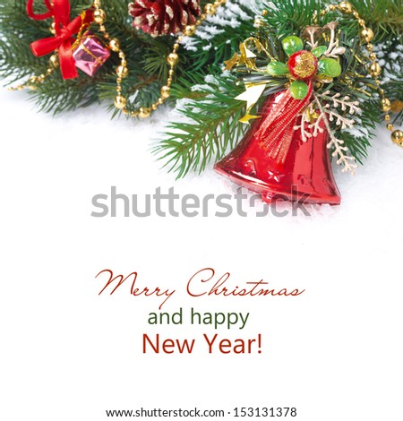Christmas composition with fir branches, decorations and red bell, isolated on white - stock photo