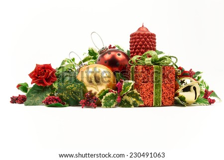Christmas composition with gift. White background