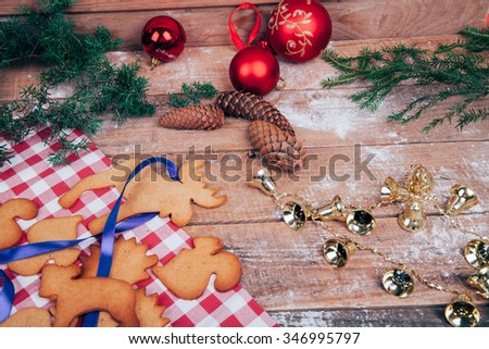 Christmas composition with ginger biscuits