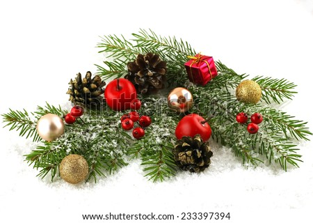 Christmas composition with holiday decoration - stock photo