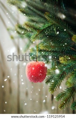 Christmas Composition with Red Apple  on the Branch on Wooden Background - stock photo