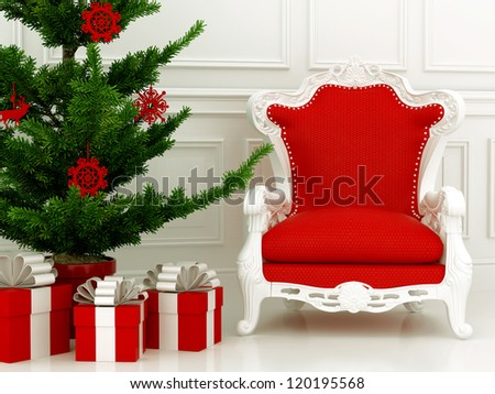 Christmas composition with red chair and a part of a Christmas tree with gifts - stock photo