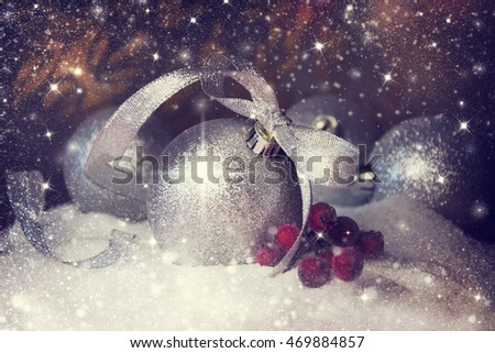Christmas composition with snow and Christmas decoration