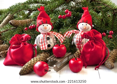 Christmas composition with  snowmans - stock photo