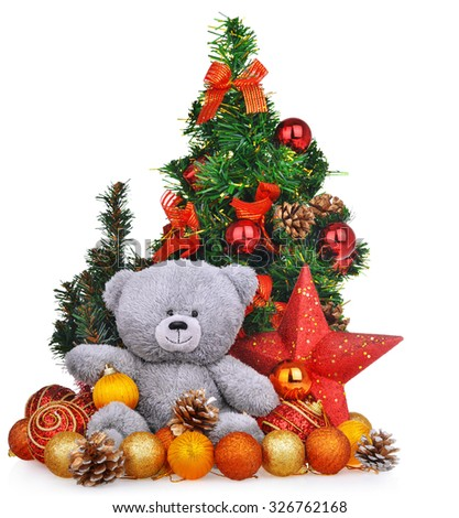 Christmas composition with teddy bear new year toys and trees isolated over white background - stock photo