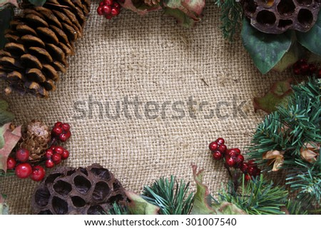 Christmas concept background. Christmas ornament with brown gunny sack