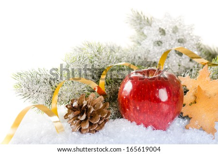 Christmas concept background with fir tree, apple, pine cone and cookies - stock photo