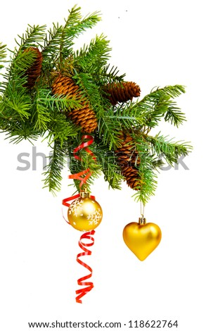 Christmas concept with baubles on white background. christmas decoration on a white background - stock photo