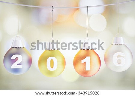 Christmas 2016 concept with christmas tree multicolored balls on the rope - stock photo