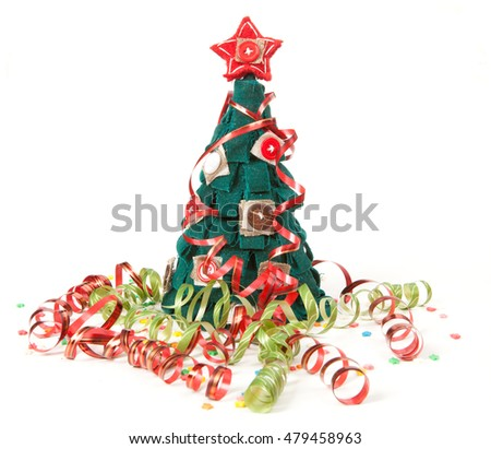 Christmas concert. serpentine ribbon and spruce isolated