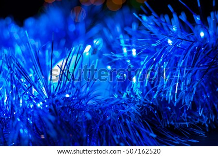 Christmas concert with blue accessories on a abstract background