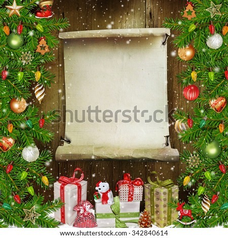 Christmas congratulatory background with pine branches, gifts, Christmas decorations and space for text - stock photo