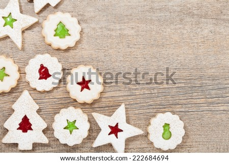 christmas cookie border - stock photo