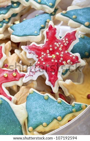 christmas cookie mix stars pine trees and meringue - stock photo