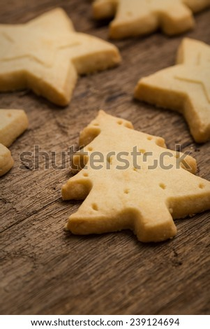 Christmas cookie on wooden background