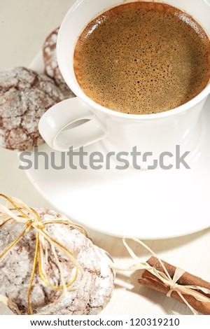 Christmas cookies an cup of coffee - stock photo