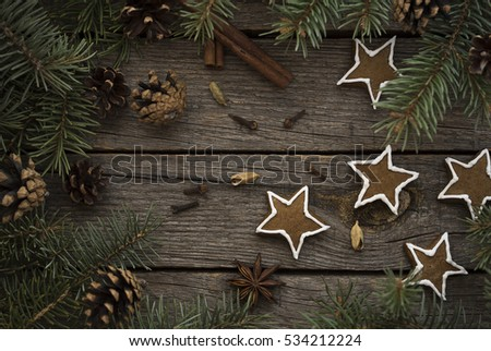 Christmas cookies and pine decoration