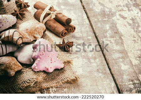 Christmas cookies and spices in holiday baking setting - stock photo