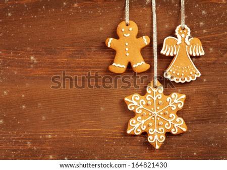 Christmas cookies background - stock photo