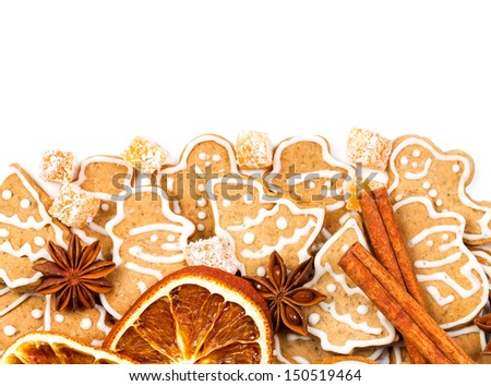 Christmas cookies different form on a white background - stock photo