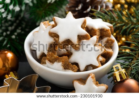 Christmas cookies in the form of stars, close-up, horizontal - stock photo