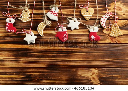 Christmas cookies on a brown wooden table