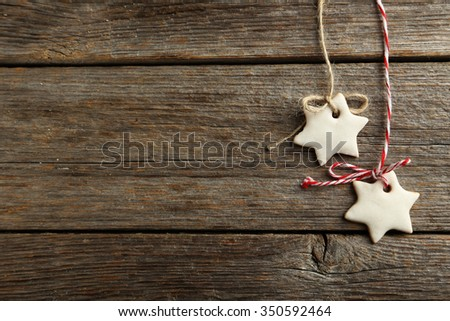 Christmas cookies on a grey wooden table - stock photo
