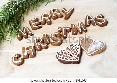 Christmas cookies on a wooden table. Happy New Year - stock photo