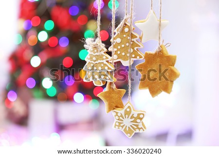 Christmas cookies on shiny abstract background