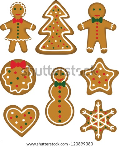 Christmas cookies set. Pastry shaped man, woman, tree, bauble, star, snowflake, snowman and heart