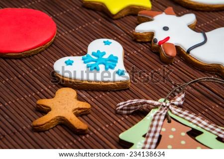 Christmas cookies. Tree, snowman, reindeer, gingerbread man, snowflake. - stock photo