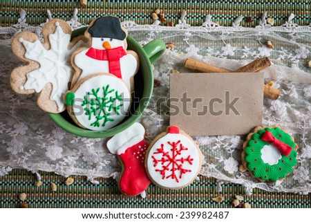 Christmas cookies with a brown card for writing your own message