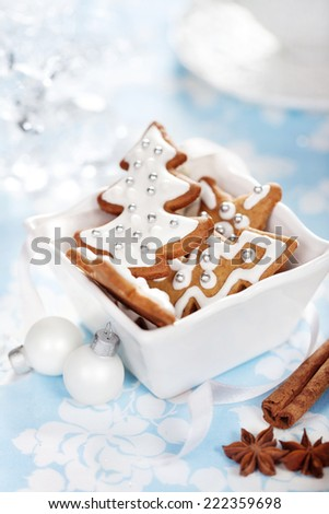 Christmas cookies with cinnamon, anise and decorations - stock photo