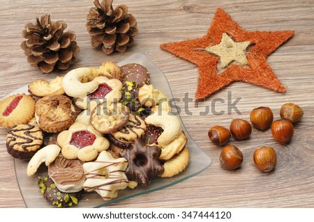 Christmas cookies with decoration - stock photo