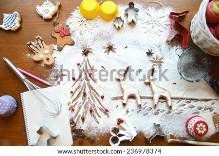 Christmas cooking, cooking ginger men, ginger cookies, magic food, Christmas concept