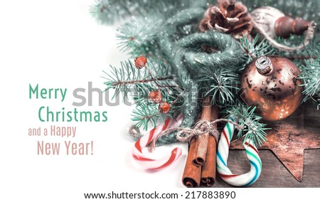 Christmas corner  composition with candy canes and replaceable text - stock photo
