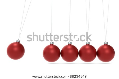 Christmas Cradle. Newtons cradle Christmas Edition. Green and Red balls. Side View