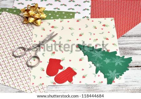 Christmas craft supplies - stock photo