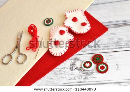 Christmas craft supplies and handmade ornaments - stock photo