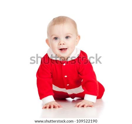 Christmas crawling happy baby  isolated on white background - stock photo