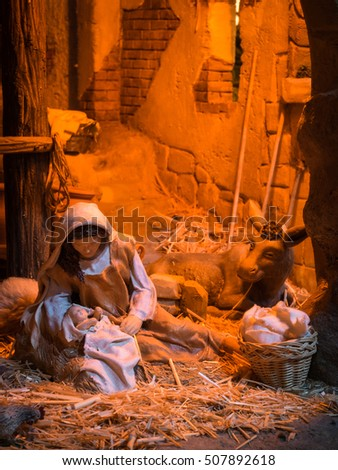 Christmas creche with Mary and Jesus