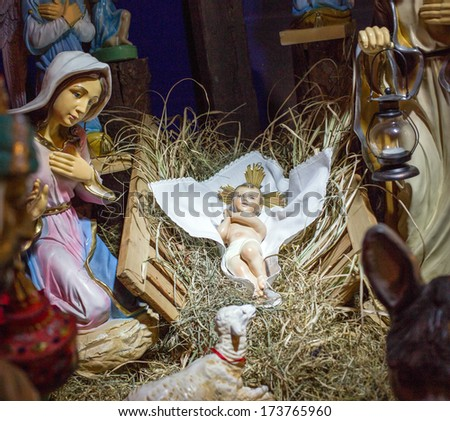 Christmas crib with child Jesus, father Josef and virgin Mary in stable at Gdansk. - stock photo