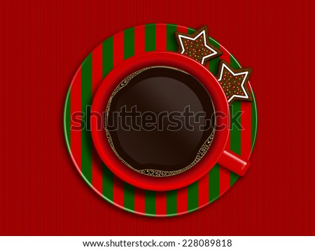 christmas cup of coffee and gingerbread lying on red tablecloth with place for text - stock photo