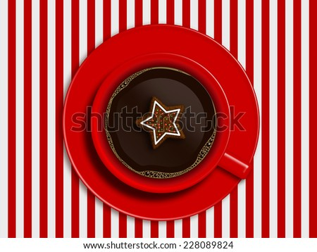 christmas cup of coffee and gingerbread lying on striped tablecloth with place for text - stock photo