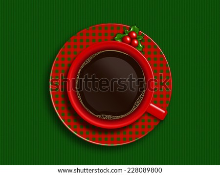 christmas cup of coffee lying on green tablecloth with place for text - stock photo